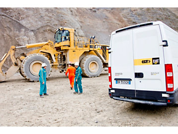 Cat dealer performs service on a quarry site in Lucca, Italy, 2010.