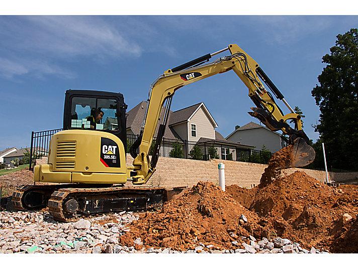 Cat   305 5E2 CR Mini Excavator with Swing Boom   Caterpillar