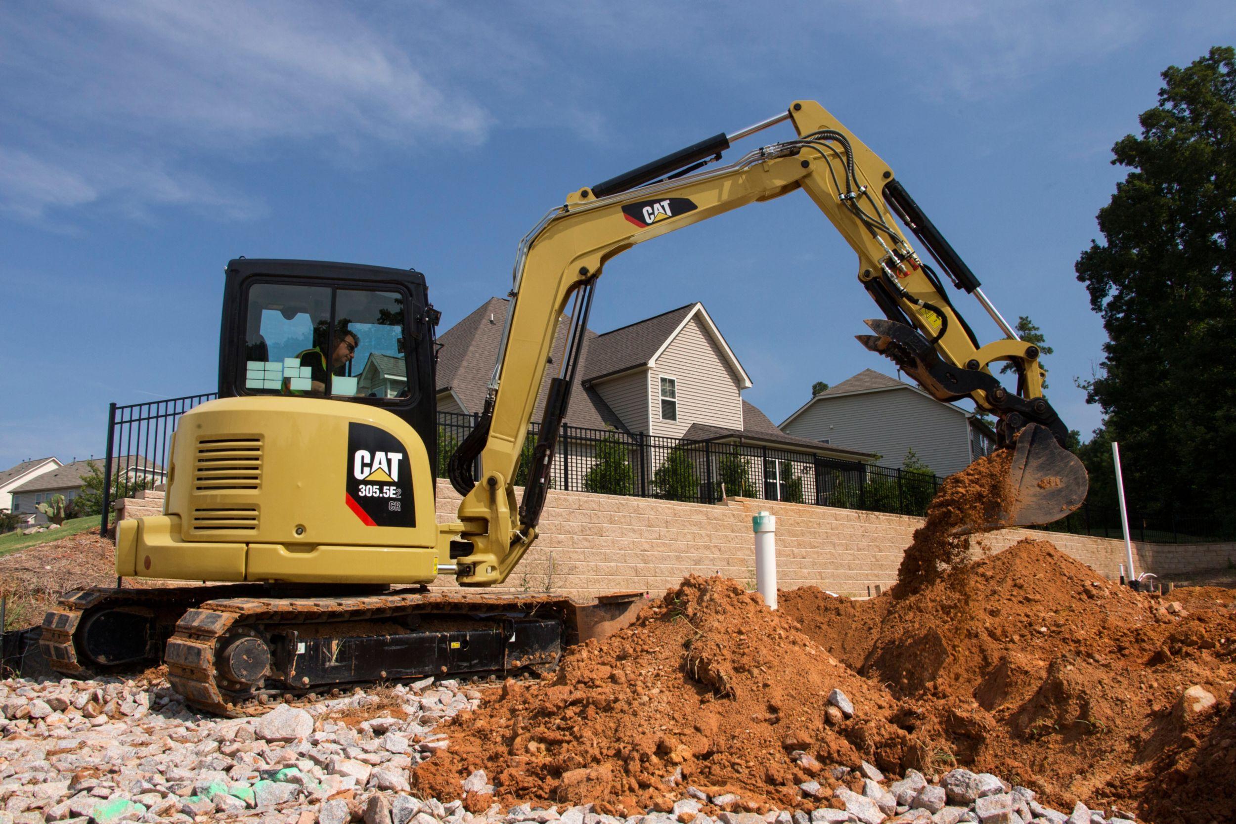 305 5e2 Cr Mini Excavator With Swing Boom Cat Caterpillar