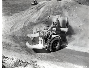 Caterpillar DW21 wheel tractor-scraper working on the St. Lawrence Seaway ca. 1958.