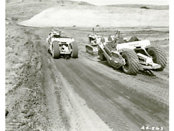 Cat D8 tractors and No. 80 scrapers were used to widen the Suez Canal, 1956.