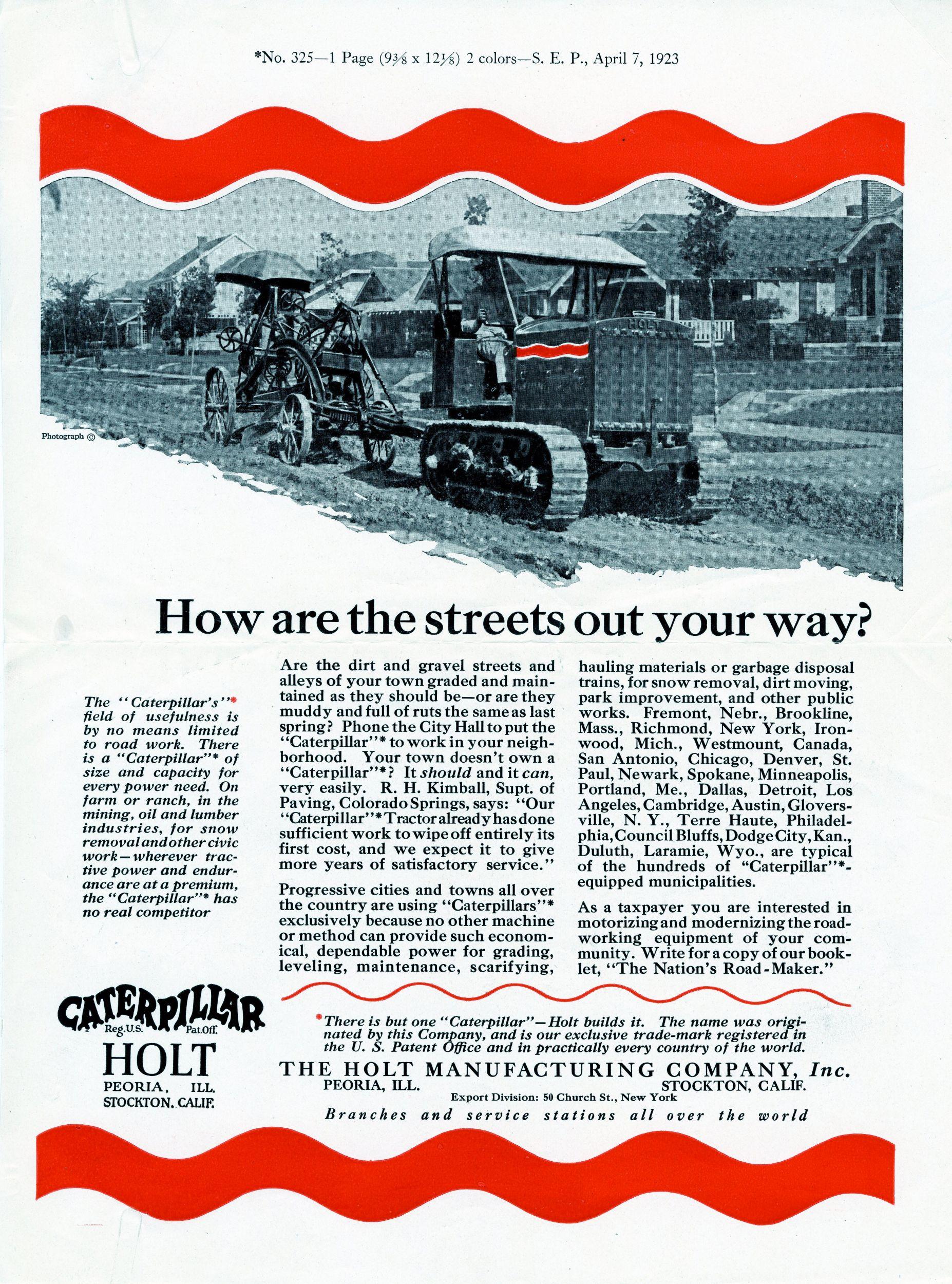Holt Caterpillar advertisement, 1923