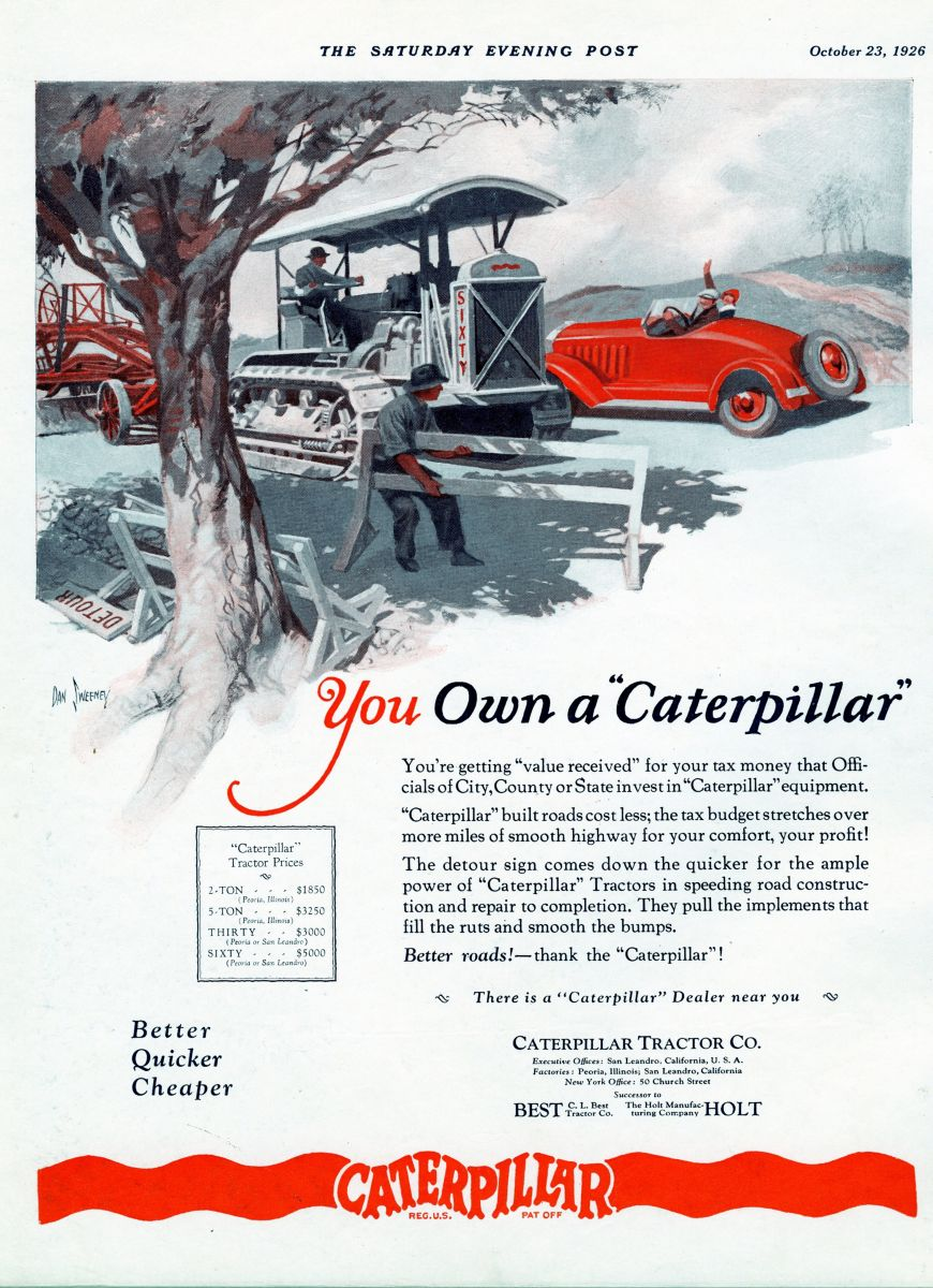 Caterpillar Tractor Co. advertisement, 1926