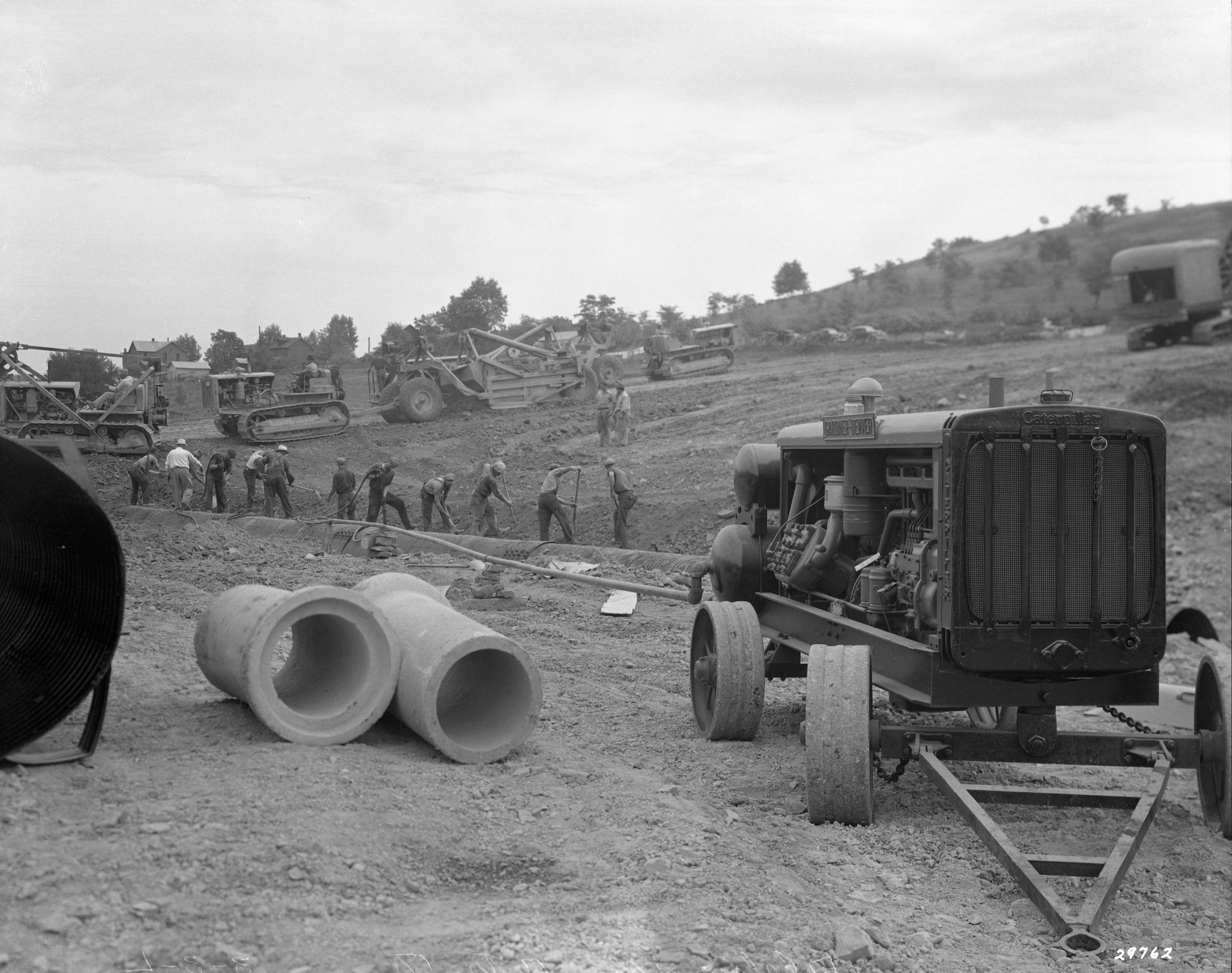 Cat® equipment constructs Pennsylvania Turnpike, 1938
