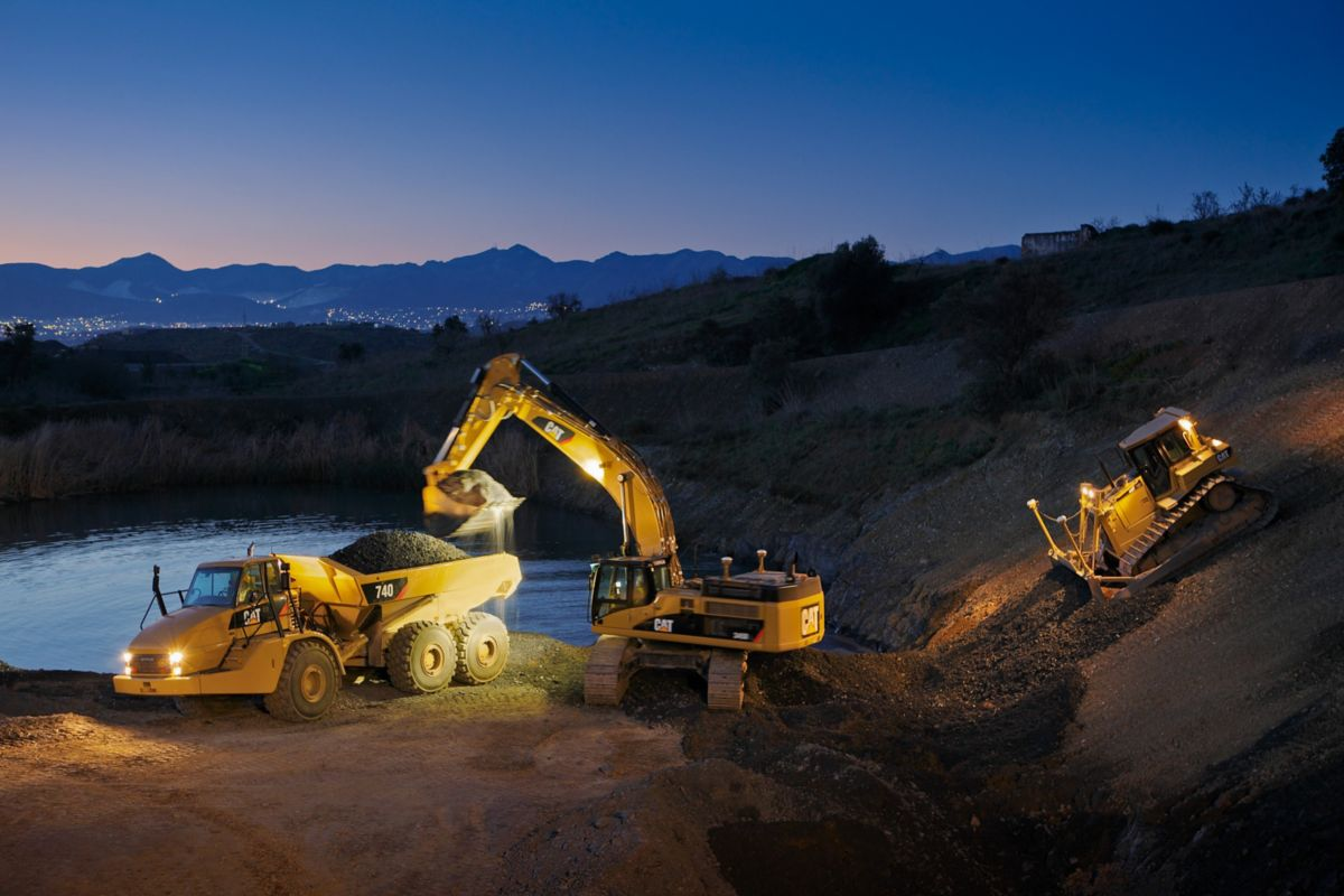 job site at night