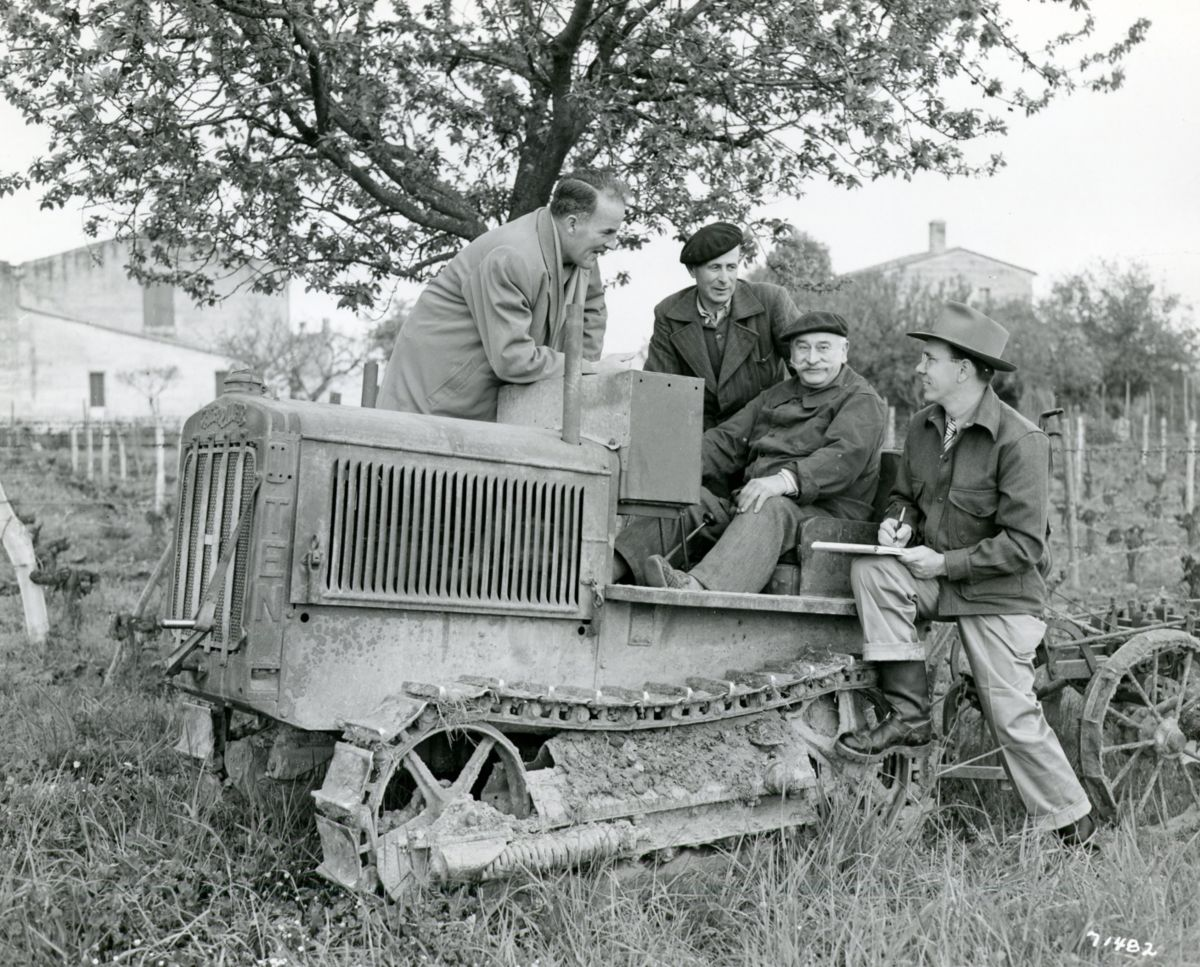 French customer poses with his Caterpillar Ten track-type tractor in 1950.