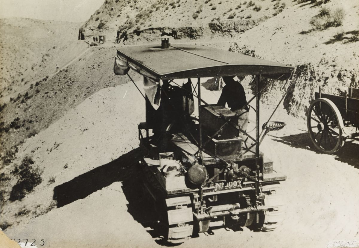 Holt Caterpillar No. 1003, track-type tractor working on the Los Angeles Aqueduct project.