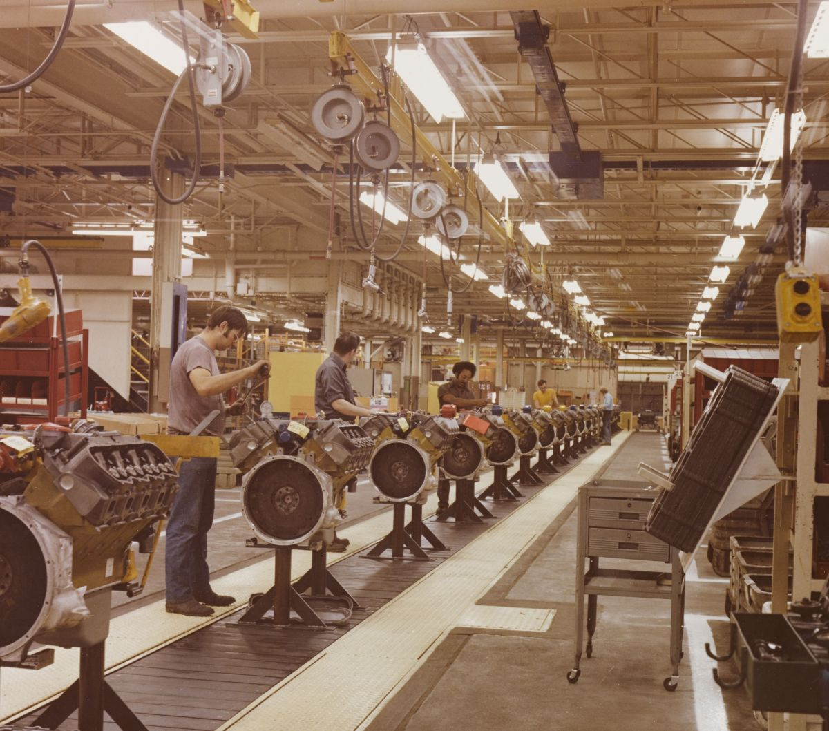Caterpillar remanufacturing assembly line in Bettendorf, Iowa.