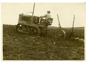 Caterpillar 2-ton tractor pulling a plow in North Africa, 1925.