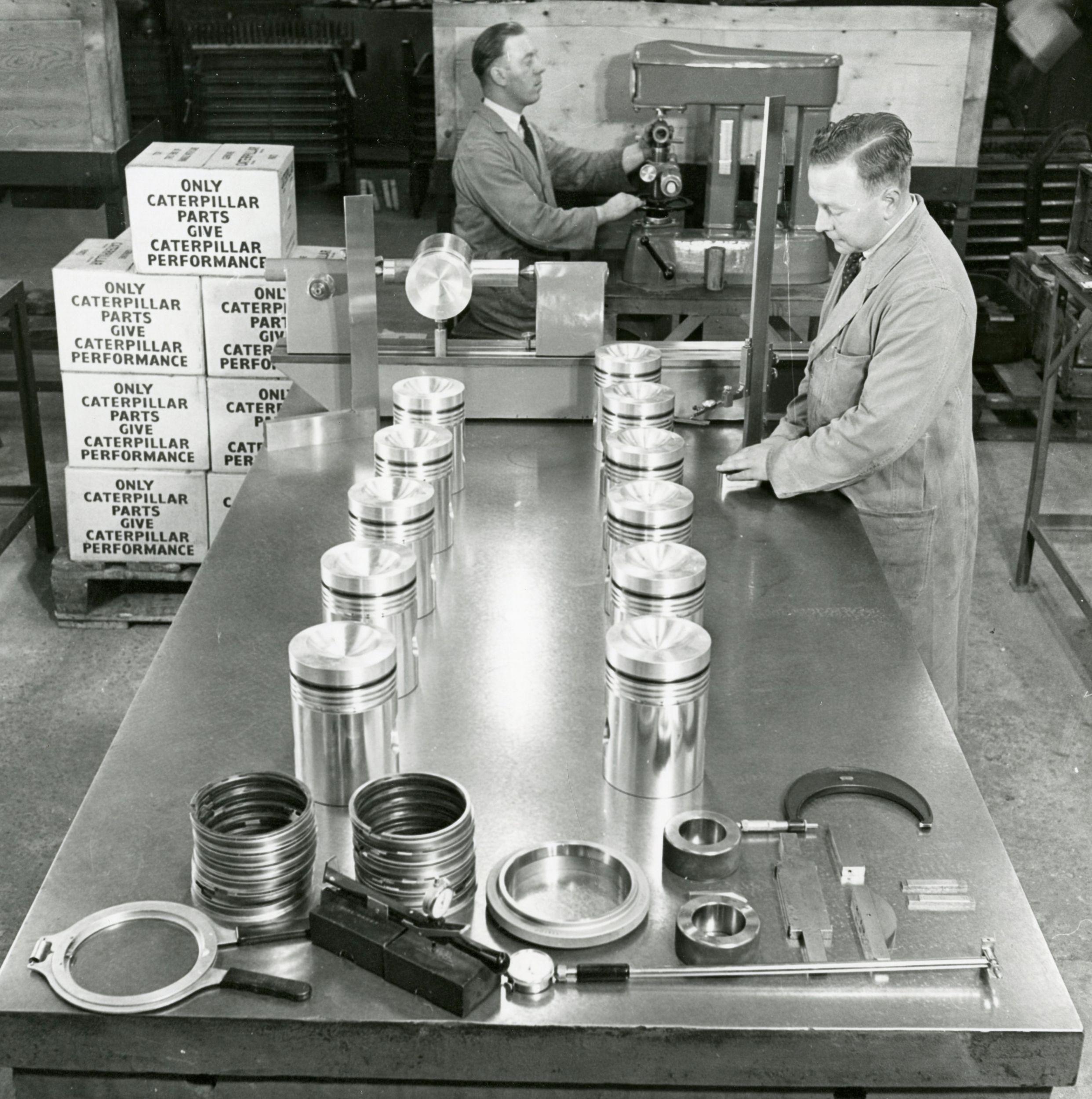 Boxing Caterpillar parts, 1947.