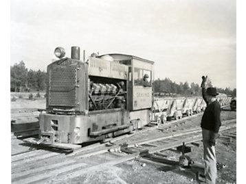 Caterpillar engine powering a diesel locomotive in c. 1935.