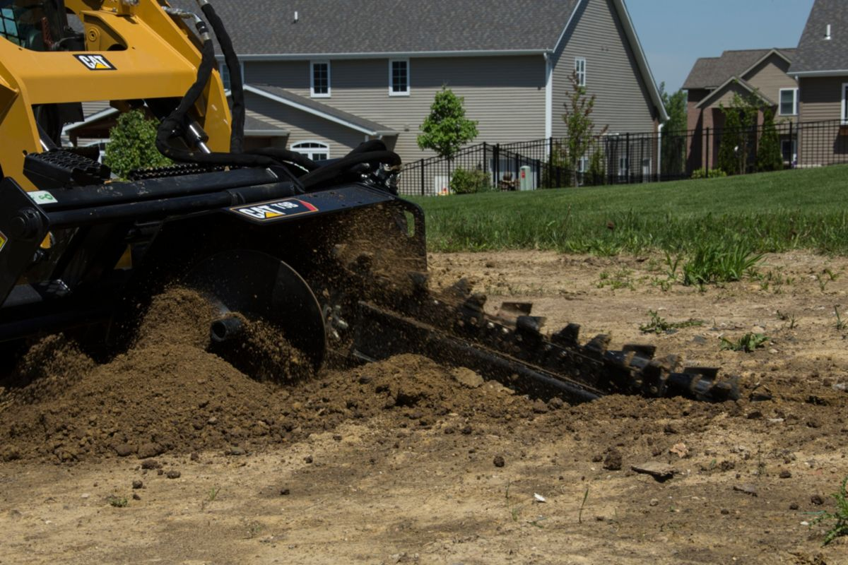 Cat® T9B Trencher in Landscaping Application>