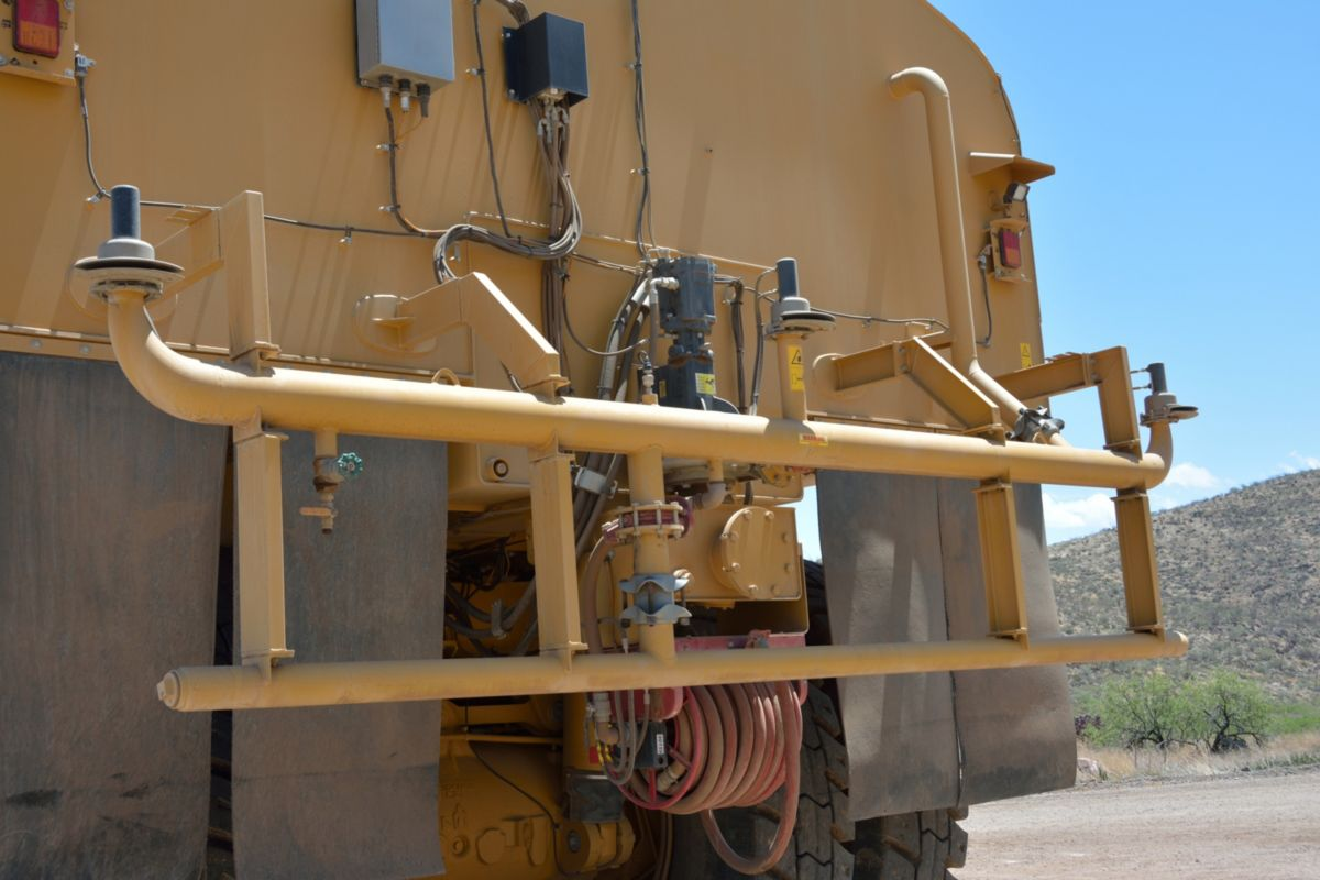Water Delivery System spray bar view on a water truck at the Tuscon Proving Ground (TPG)>