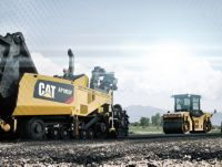 Cat paver and asphalt compactor