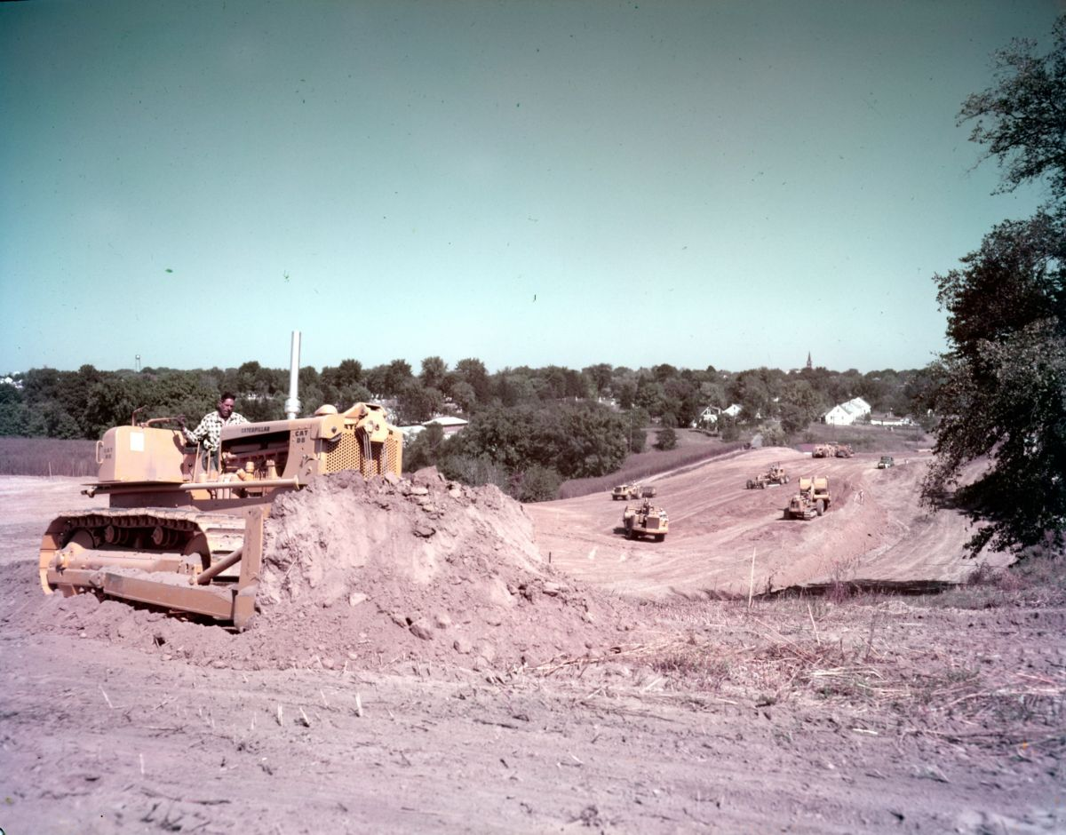 Cat D9 tractor at work during the construction of I74 in Central Illinois.