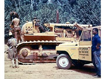 D8H dozer in Cameroon, Africa, ca. 1975.