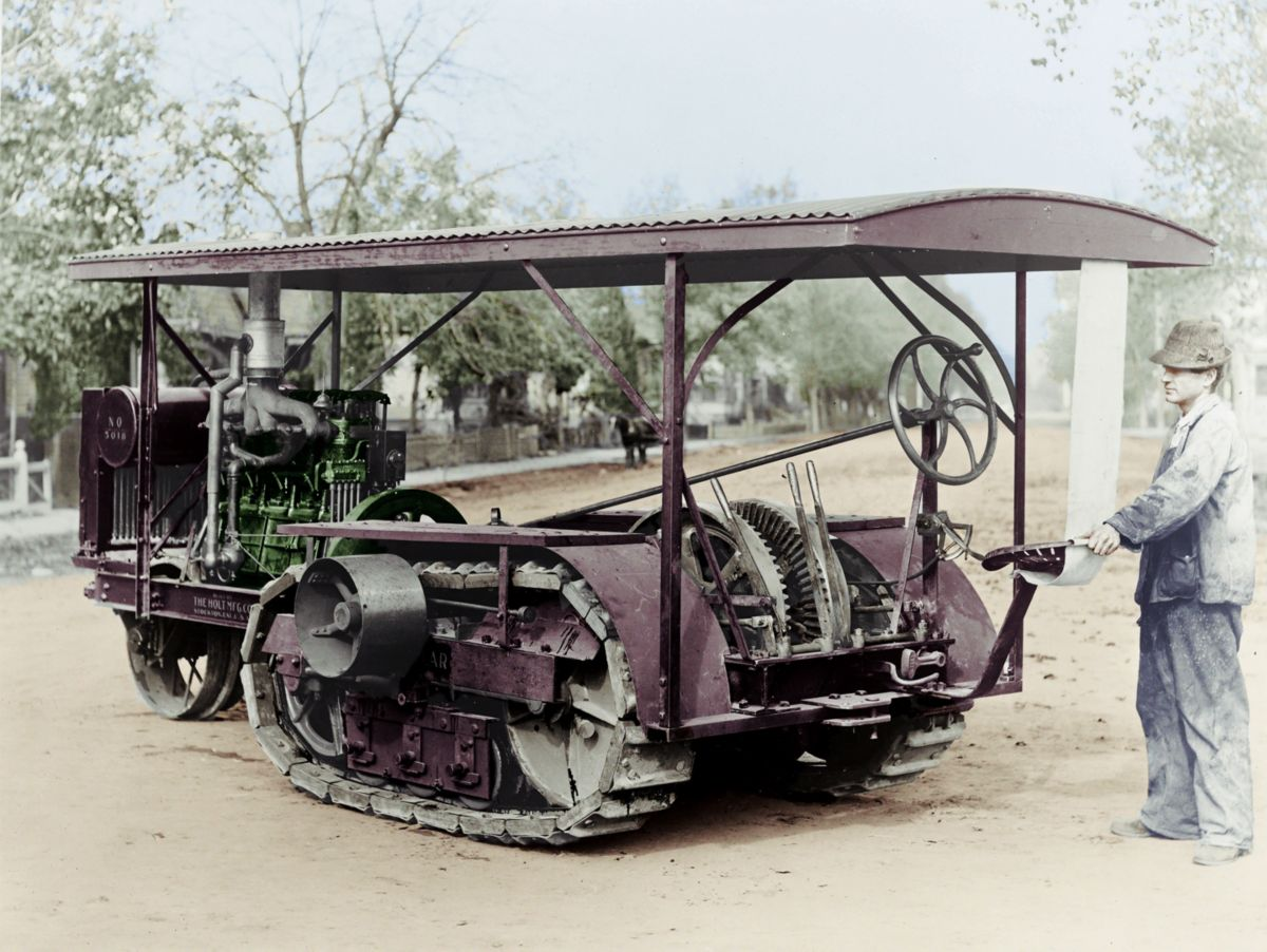 "A ""baby"" Holt Caterpillar track-type tractor on display in Stockton, California, in 1912."