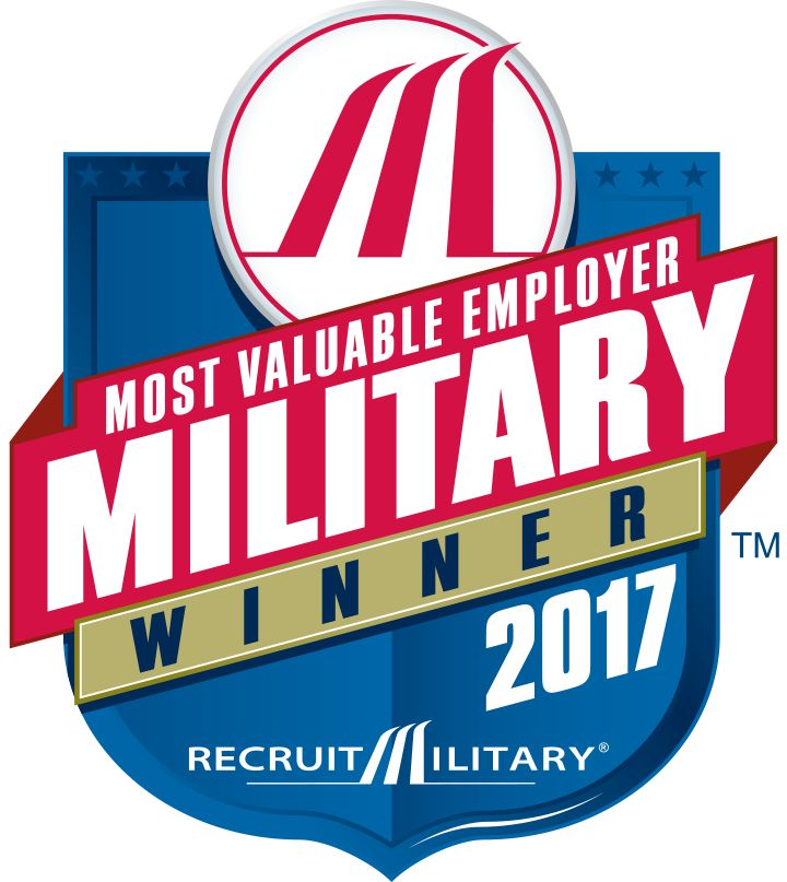 Most Valuable Employer (MVE) for Military (RecruitMilitary, 2017)