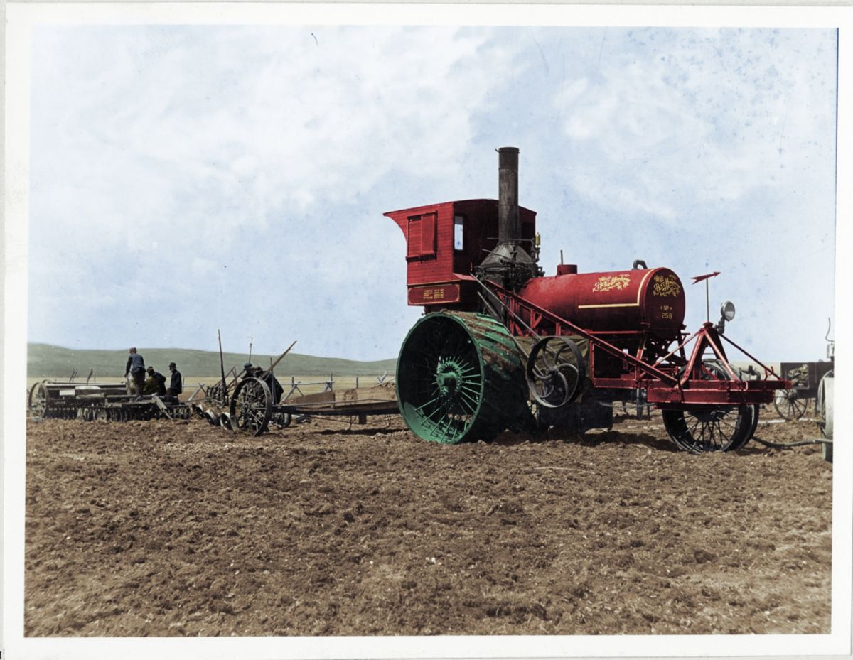 Best Manufacturing Company steam tractor pulling a plow in California, ca. 1900.