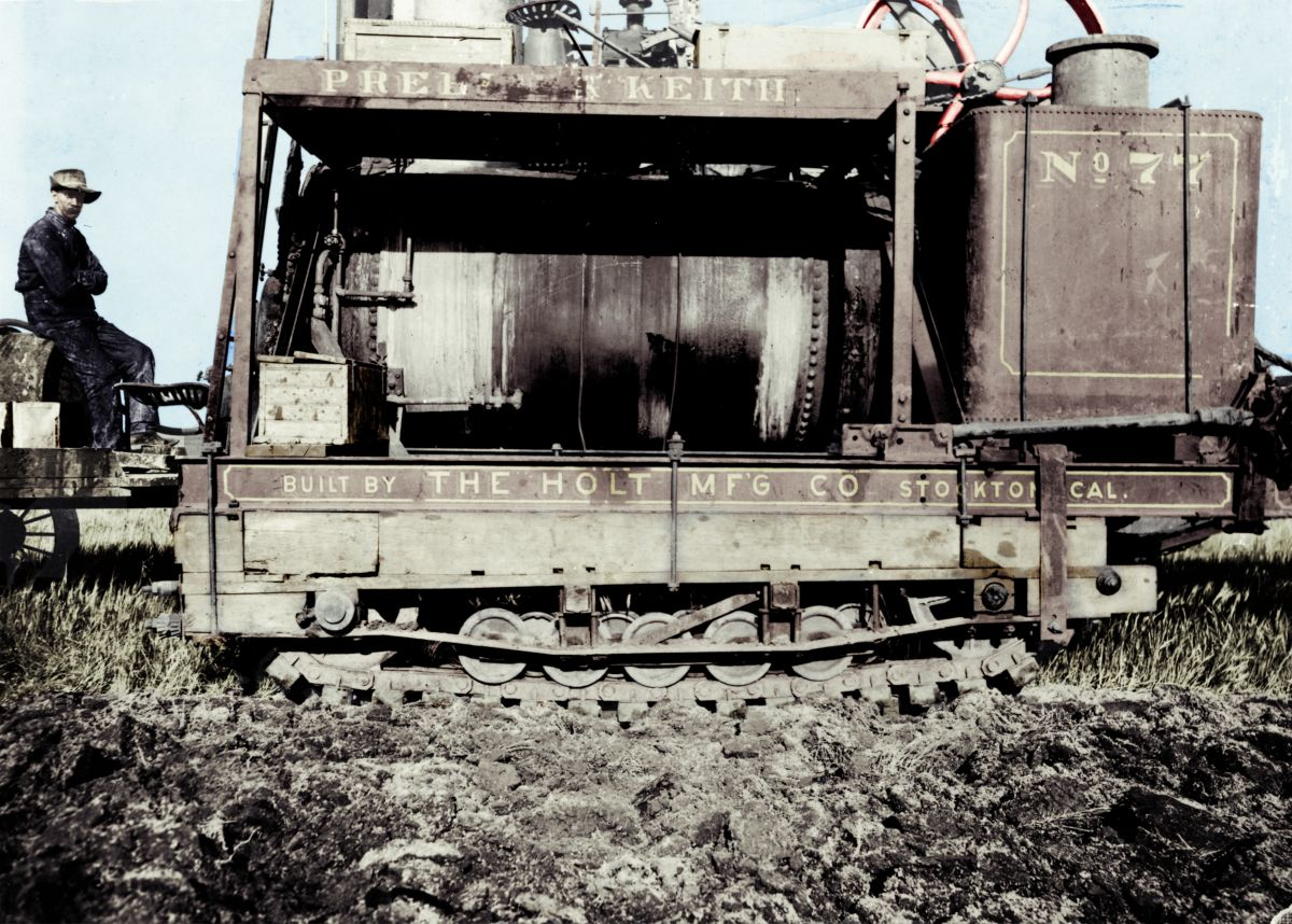 "Benjamin Holt's ""Caterpillar"" tracks on the first dozer."