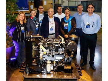 Curitiba facility leaders pose with the 250,000th engine