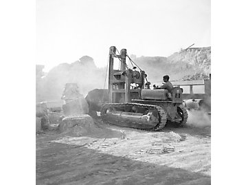Cat®D4 with a Traxcavator attachment at work within the Carthaginian ruins.