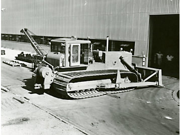 """Special """"low ground pressure"""" (LGP) tractor built for work in Antarctica, 1956. The wider tracks of these machines helped distribute weight more evenly and kept them from falling through the ice."""