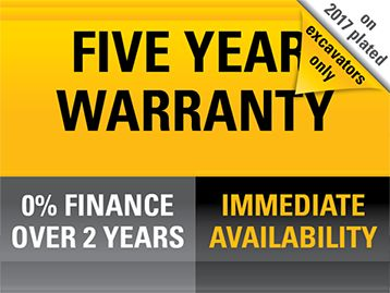 Five year warranty on 2017 plated excavators only. 0% finance over 2 years. Immediate availability.