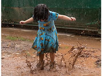 Girl Splashing in Puddle