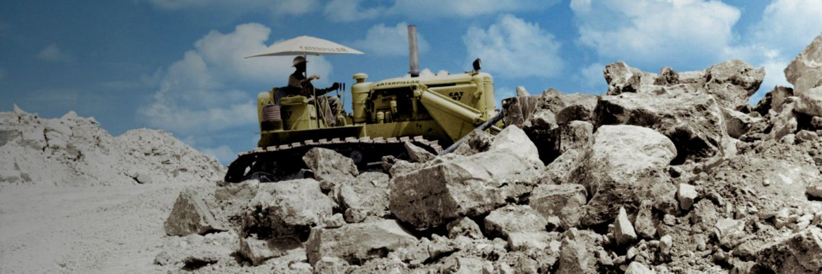 machine with rock pile