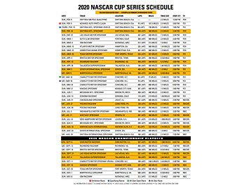 2020 NASCAR Schedule