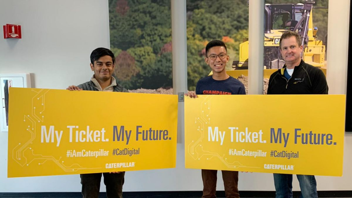 Winners from hackathon signed on to join the Caterpillar team this summer.