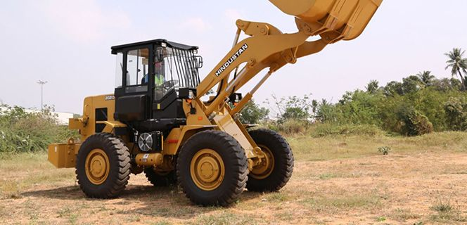 The Hindustan 2021D Wheel Loader is a legacy machine with modern upgrades.