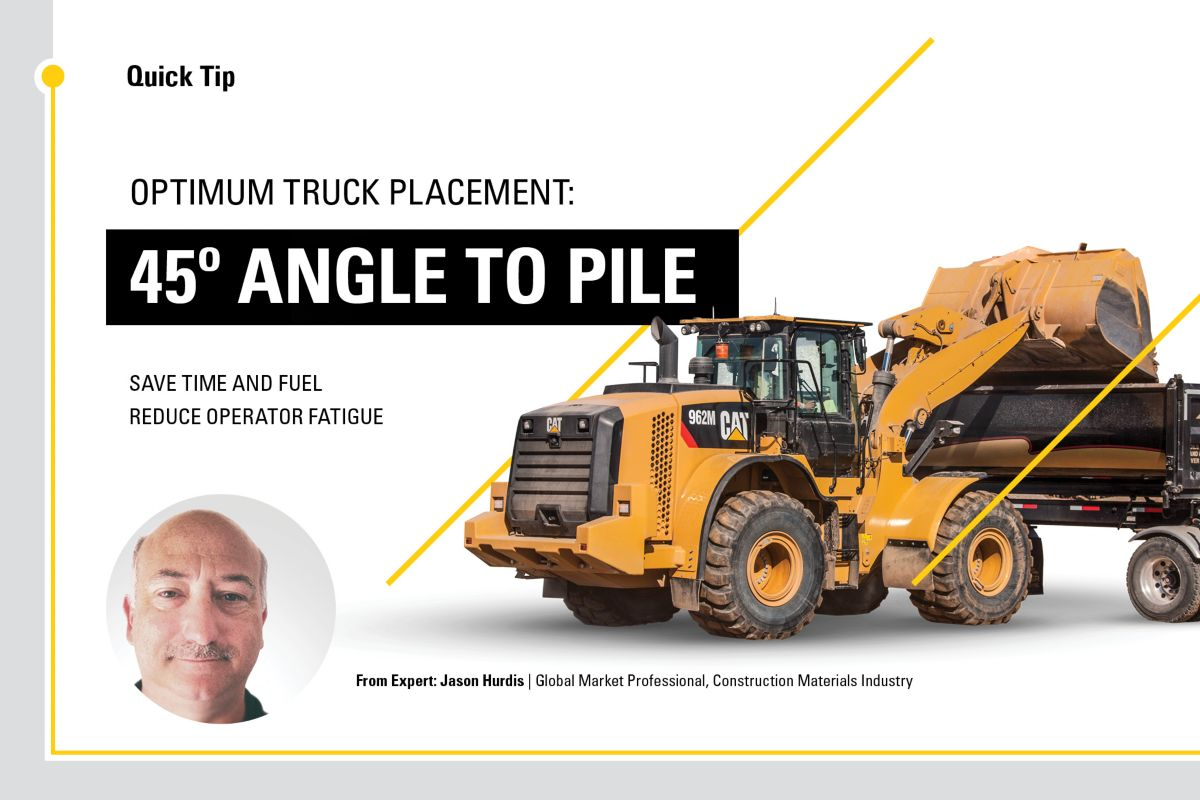 Optimum truck placement: 45 degree angle to pile