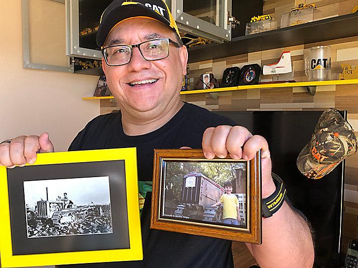 Dentre os principais itens estão os retratos do sogro operando um D2 e o filho Adrian, ao lado do 2Ton.