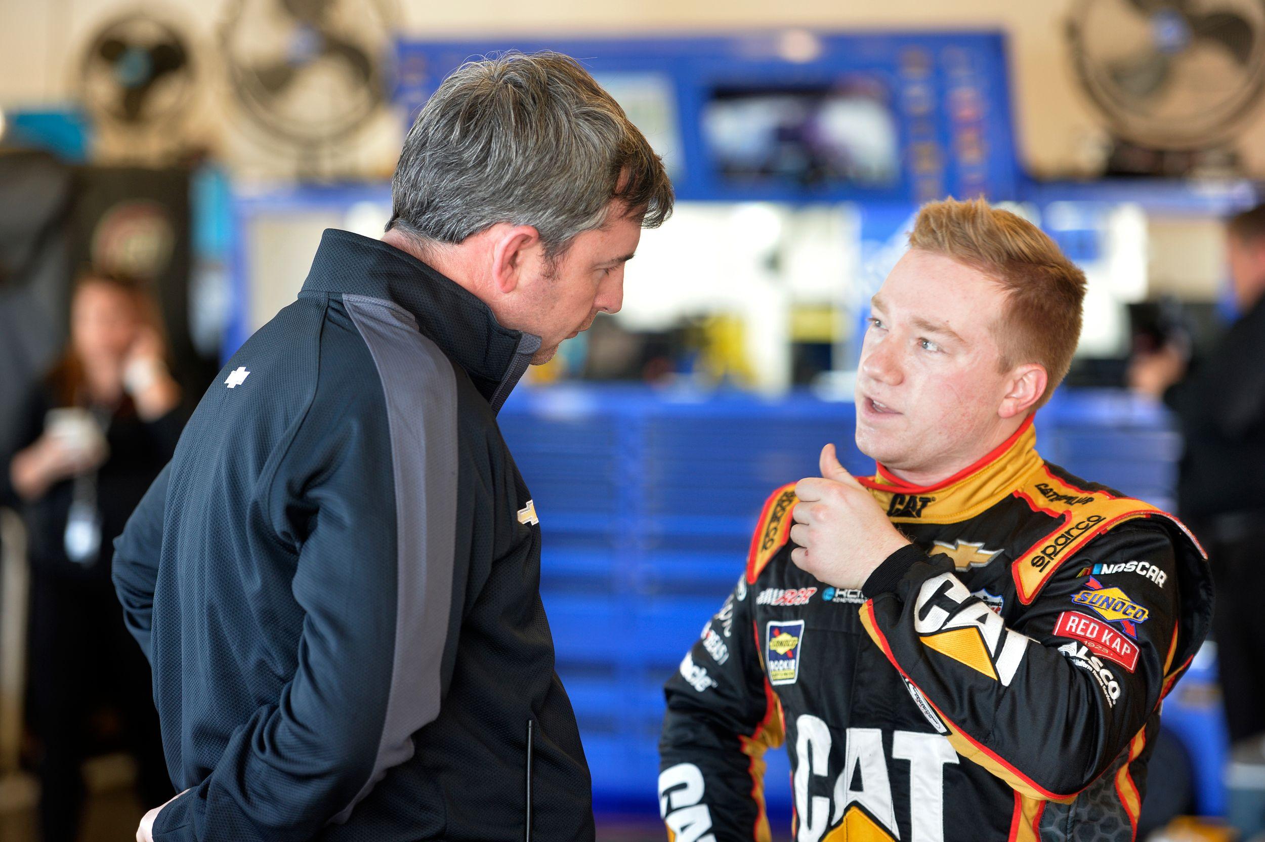 Randall and Tyler talk strategy at Daytona.