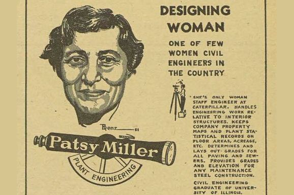 Caterpillar's first civil engineer, Patsy Miller's biography featured in a company publication circa 1951.
