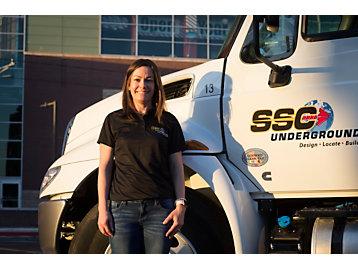 Michelle Walker in front of SSC truck
