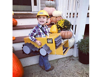 boy in dozer costume