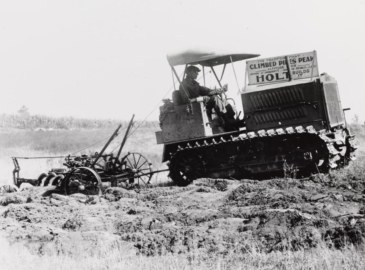 Holt 5-Ton tractor that climbed Pikes Peak performing a demonstration at an unidentified fair in 1919.