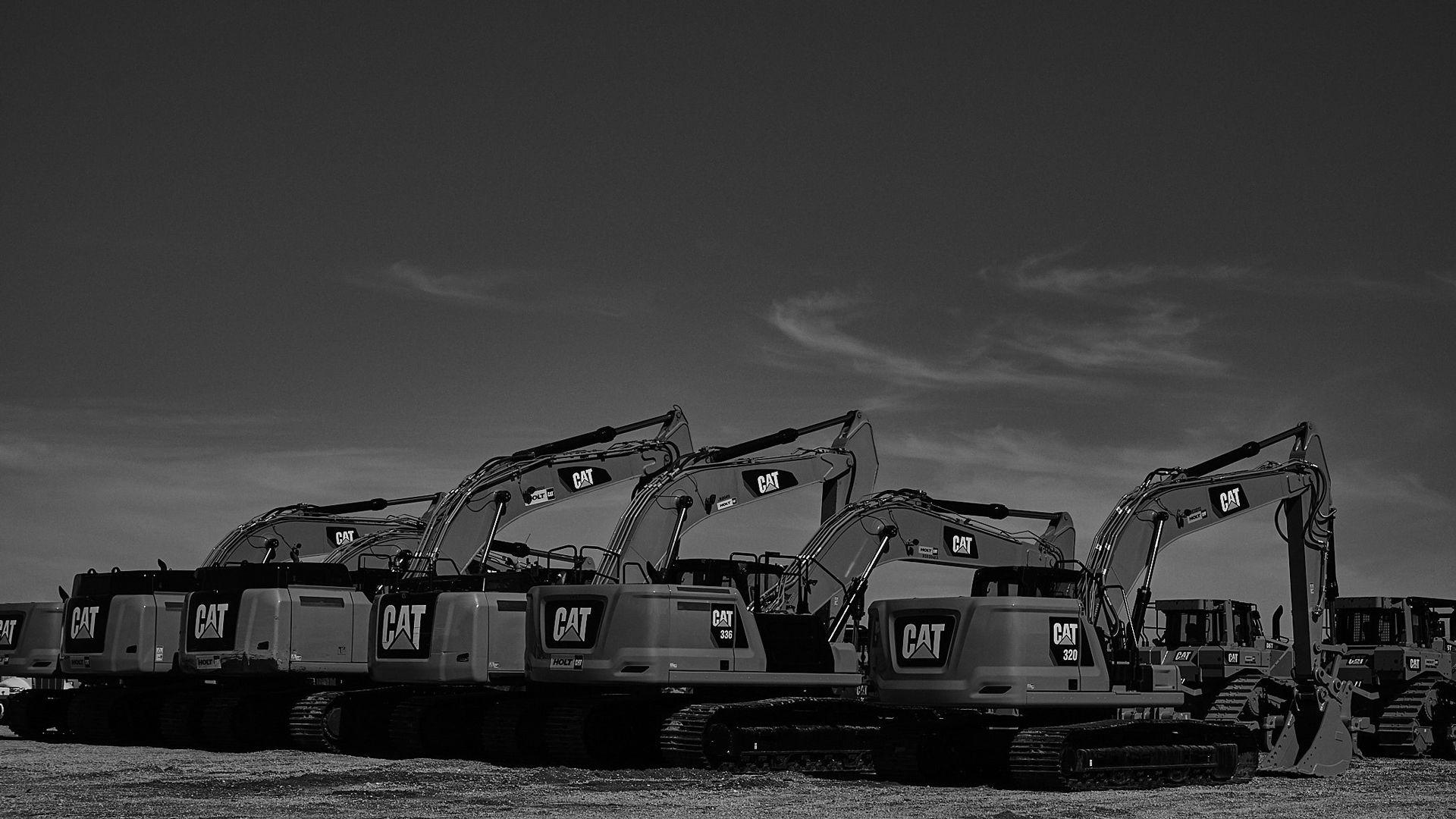 Excavators in Line