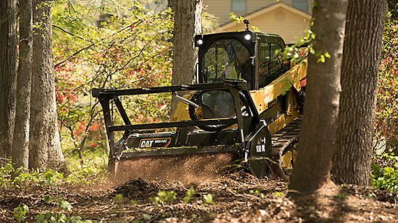 Mulcher working in forest