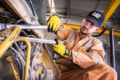 Man working on machine parts