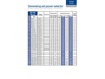 发电用发动机选型表(有排放证书)