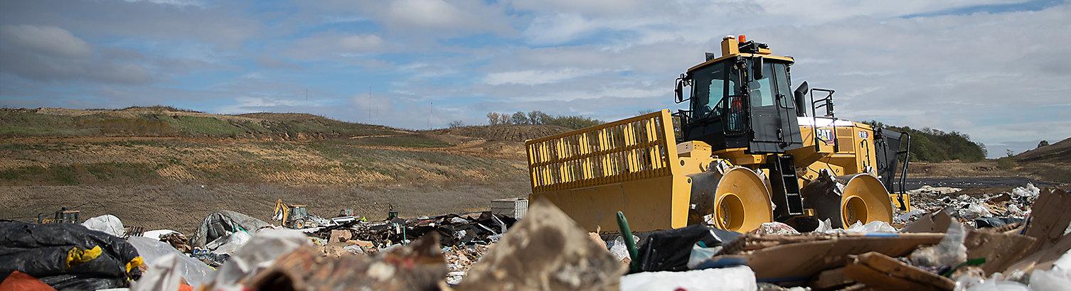 Compactor at landfill
