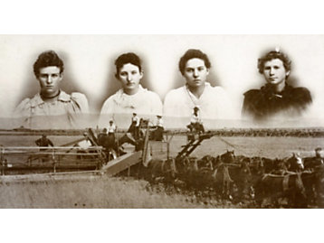 """Four young girls dubbed, """"Bloomer Girls,"""" are shown here operating a Holt combine in 1885."""