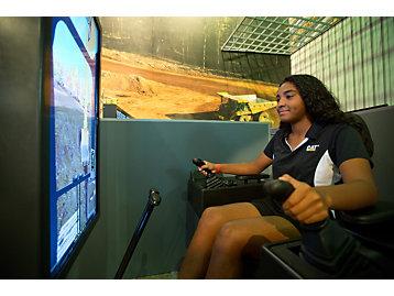 girl using simulator
