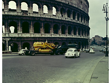 Cat 955 Track Loader in front of the Roman Coliseum, ca. 1962.