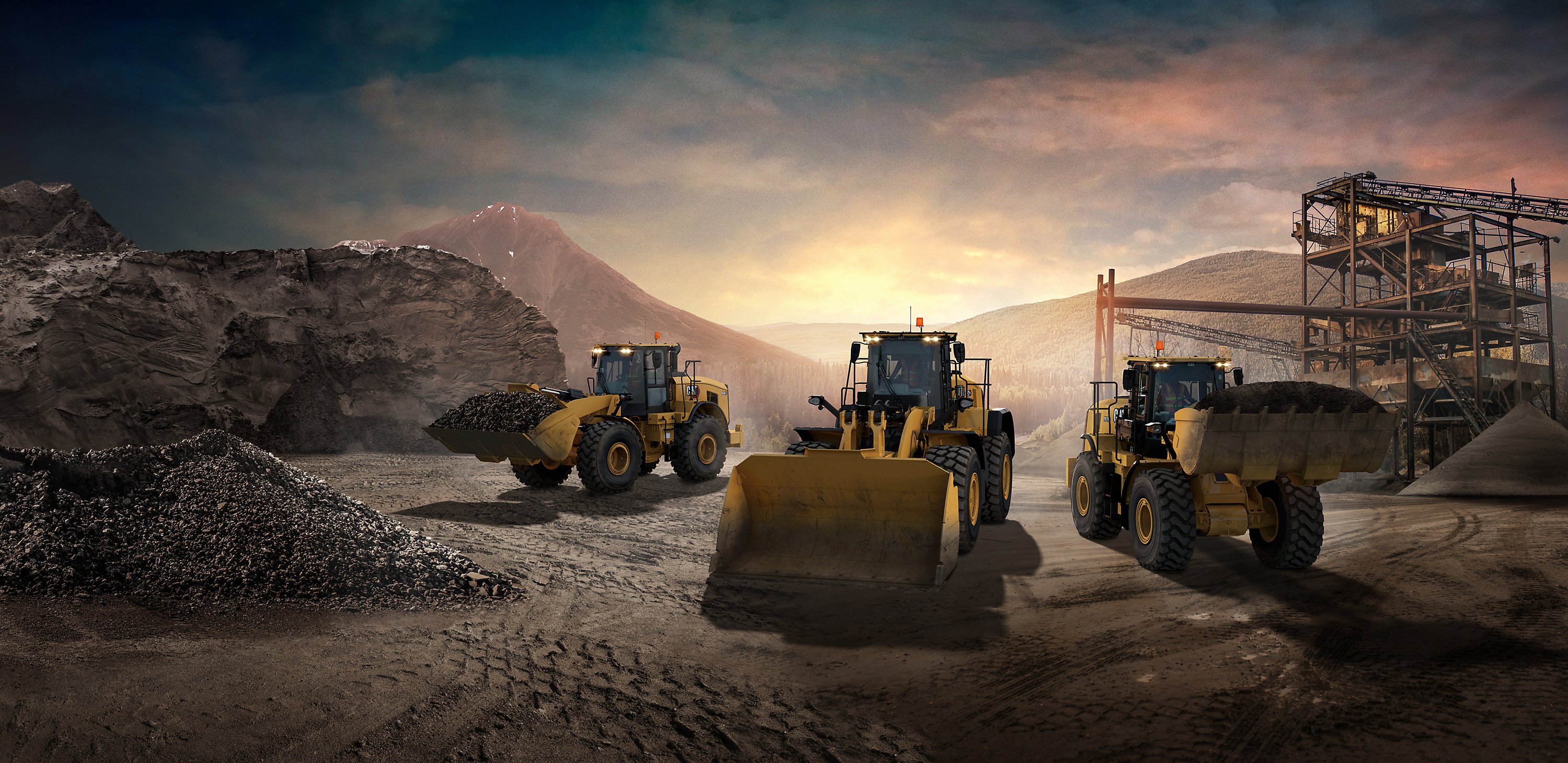 Wheel Loader, Skid Steer and Articulated Truck working on jobsite