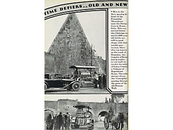 Caterpillar Sixty working next to the Pyramidal Mausoleum in Rome, 1931.